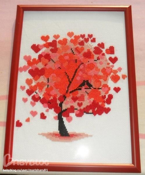 Вышивка красное дерево
