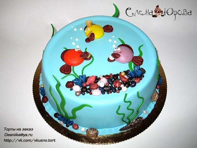 Торт, аквариум с рыбками