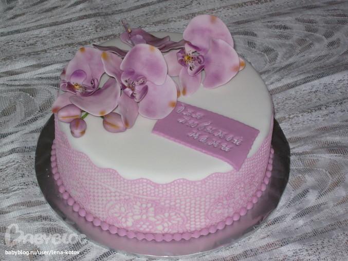 Фото украшенного торта орхидеями