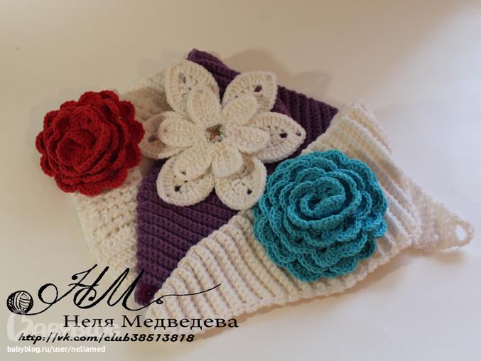 Вязание крючком цветов для повязок 419