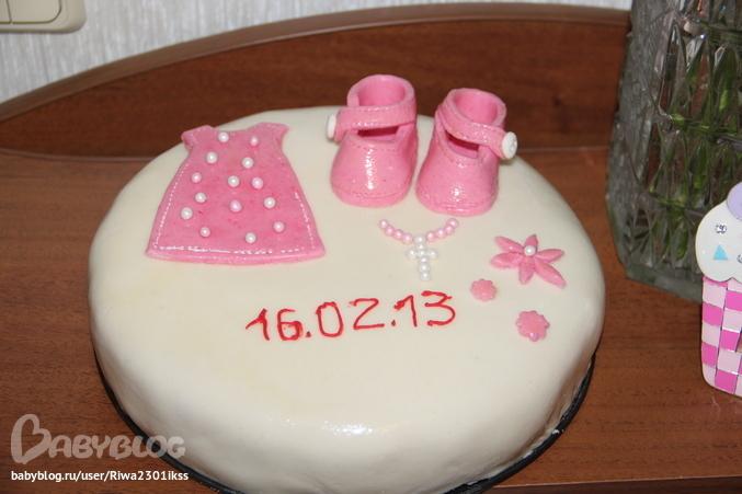 Торт на крещение девочки своими руками из мастики пошагово