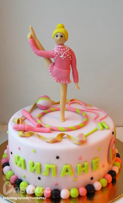 Торт с гимнасткой из мастики фото