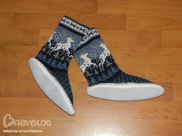 Вязанные носки с подошвой