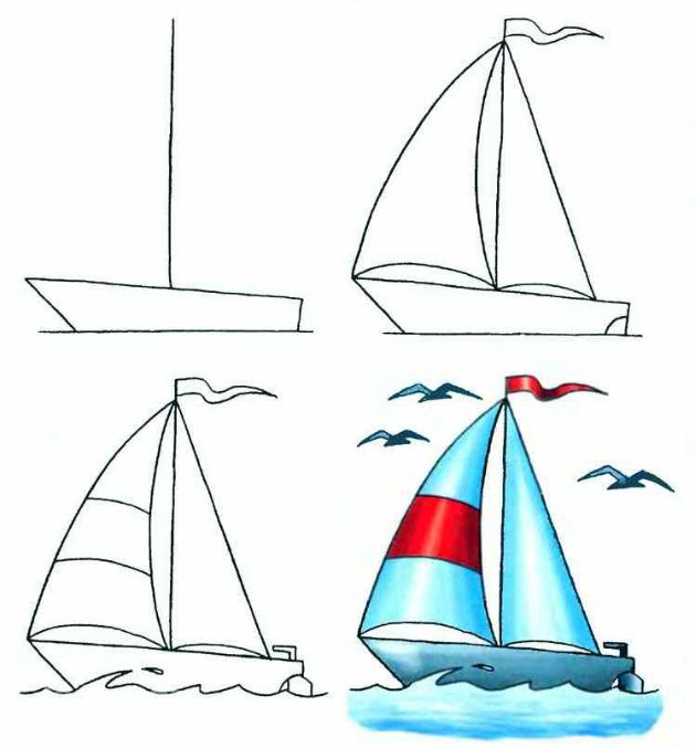 лодка с парусом рисунок карандашом