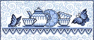 Картина Гжель, 38х16,5, счетный крест.  Чаривна мить (Волшебное мгновение).  Номер.