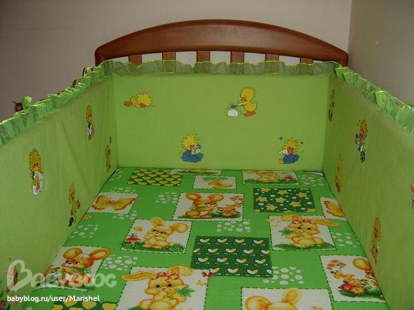 Можно сшить бортики вот такого плана.  На кроватку 120*60, высота бортика 35см.  Три стороны (две короткий и одна...