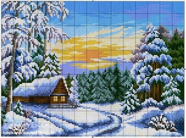 Вышивка зимний пейзаж скачать