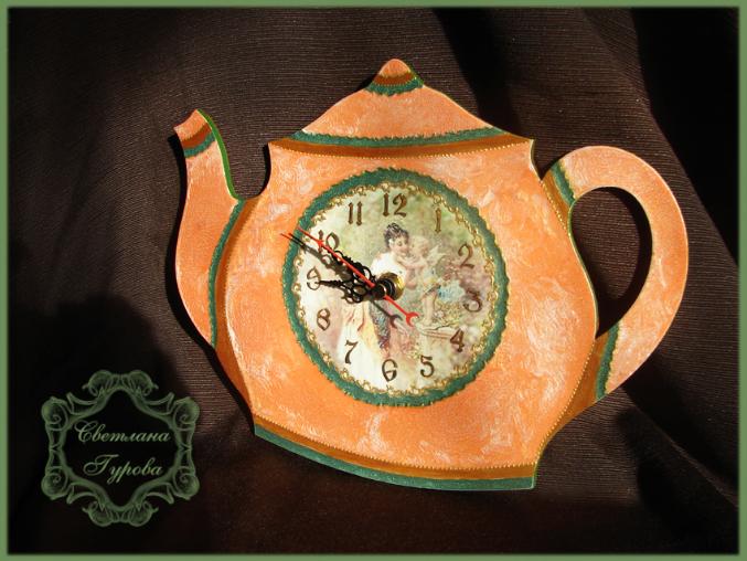 Часы из фанеры декупаж