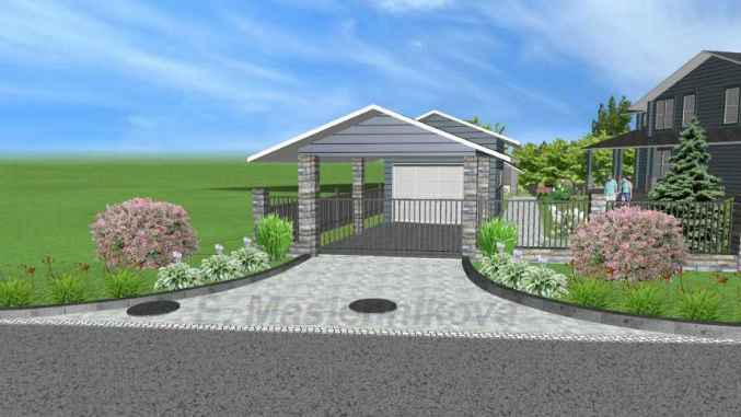 Ландшафтный дизайн с гаражом