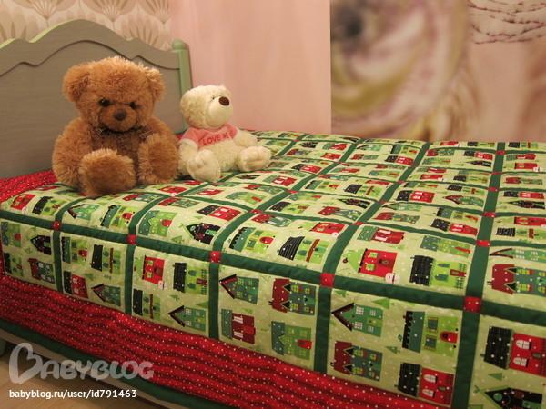 Новогоднее покрывало на кровать своими руками 50