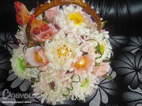 Букеты из конфет своими руками мастер класс хризантемы