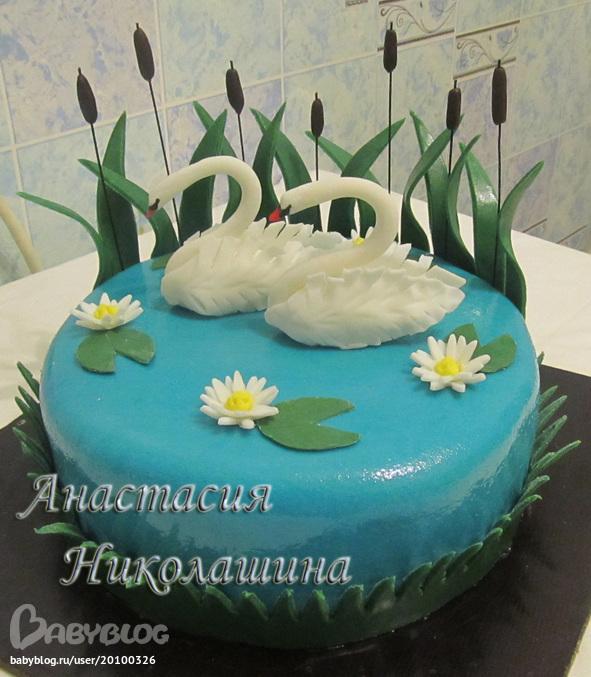 Фото лебеди на торте