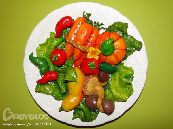 Поделка фрукты на тарелке 46