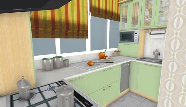 Маленькая кухня 5,8 кв.м. совмещенная с лоджией..