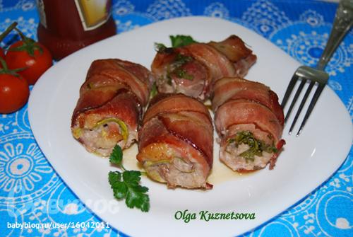 Пальчики из свинины с начинкой рецепт с грибами