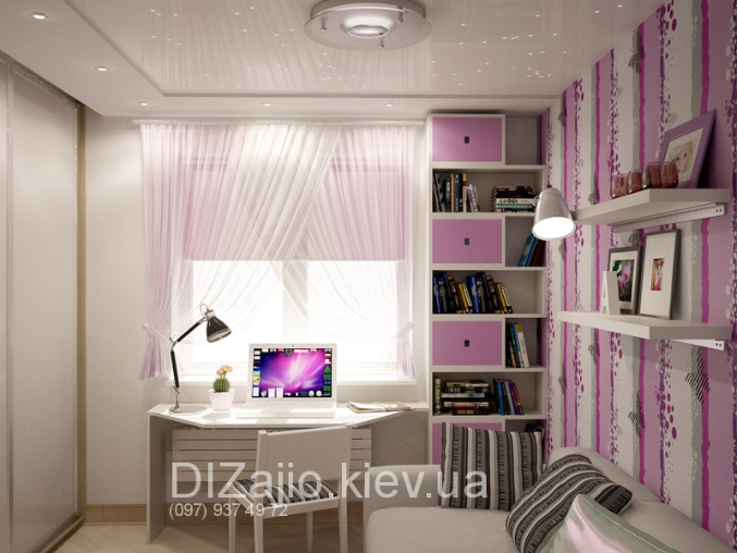Комната для девочки со столом у окна