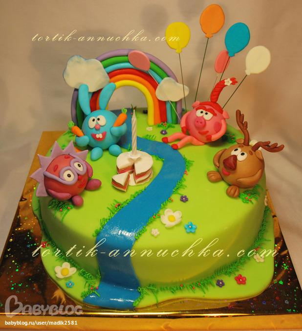 Торт со смешариками из мастики фото