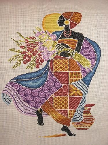 Африканская женщина вышивка крестом