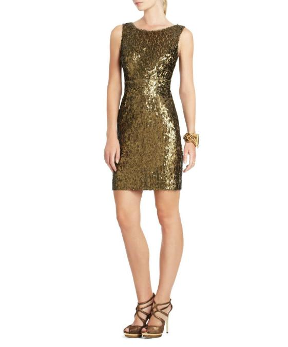Bcbg gold cocktail dress