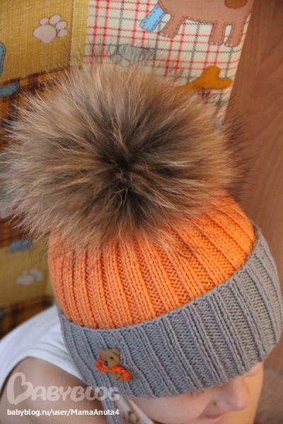 Связать шапку для мальчика с помпоном спицами