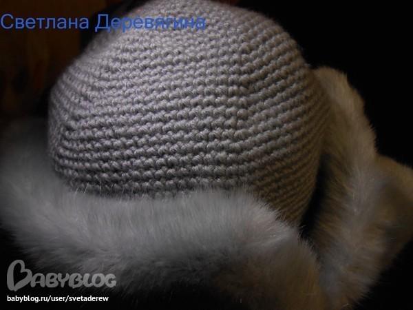 Вязаная шапка-ушанка спицами и крючком. Мастер-классы