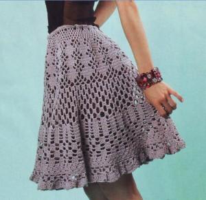 Ажурная расклешенная вязаная юбка крючком. ajurnaya raskleshennaya vyazanaya yubka.