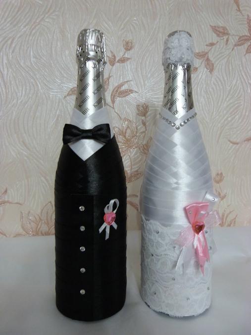 Оформление бутылки шампанского лентами своими руками мастер класс