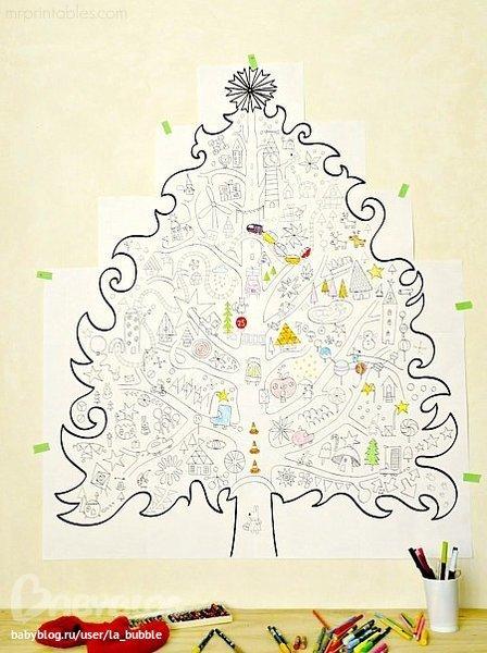 Раскраски елка большая