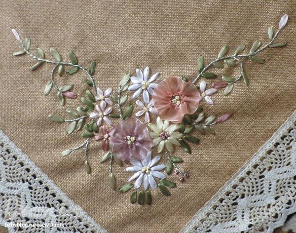 Льняные скатерти с вышивкой лентами