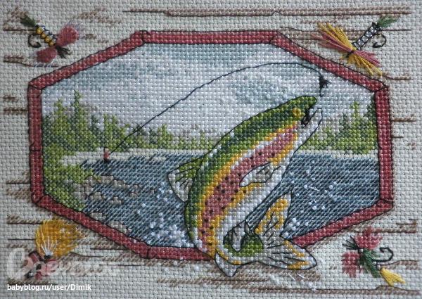 Вышивка рыба рыбалка 11