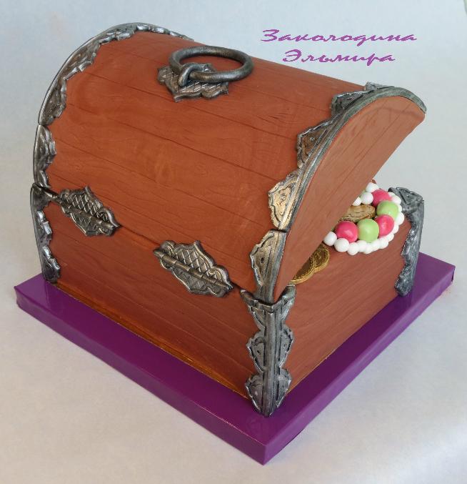 Как сделать приоткрытой крышку сундука торт из мастики фото