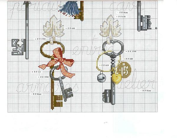 Схема вышивки ключиков