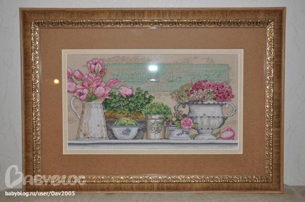 Вышивка схема цветы парижа