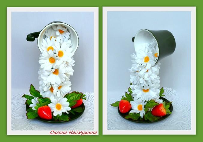 Топиарий летящая чашка с цветами
