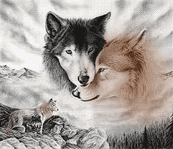 Вышивка гладью волки