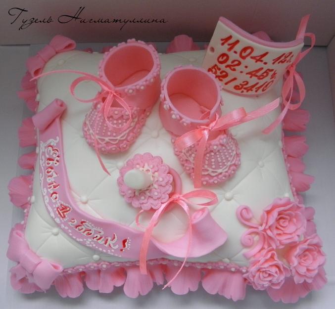 Торт подушка с пинетками
