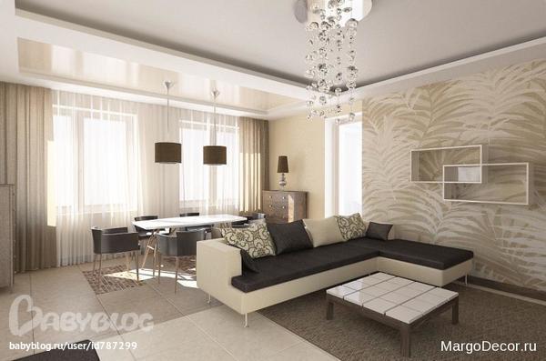 Дизайн квартиры в бежевых и коричневых тонах