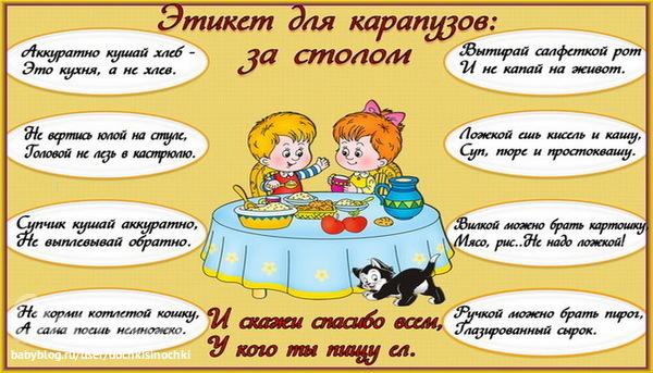этикет в картинках для дошкольников