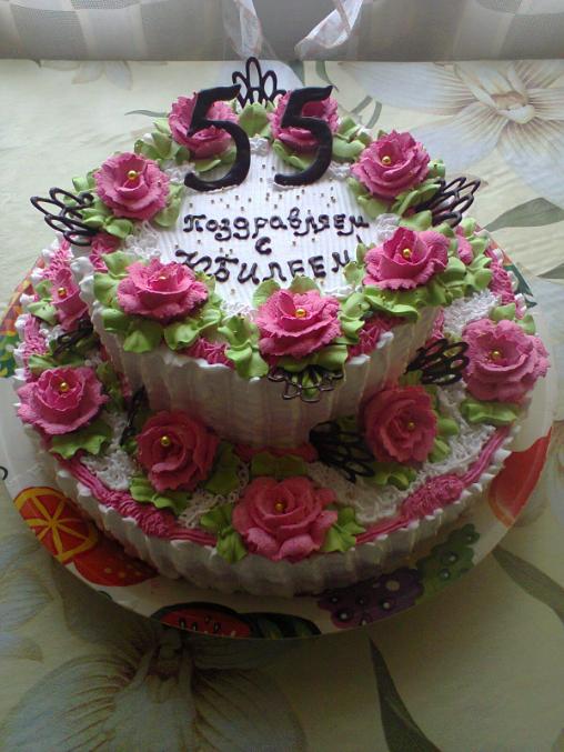 15 апреля 2013, 13:21 *Украшение тортов кремом,шоколадом, фруктами. торт на юбилей.