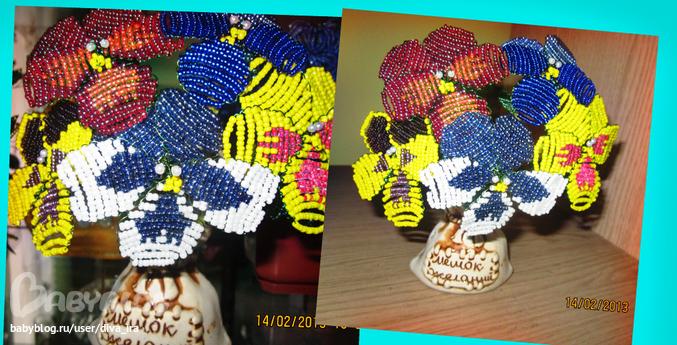 Раздел: Бисер. для моей тети- крестной Анны).  Анютины глазки из бисера.  Св Екатерина - подарок нашей Фее-Крестной.