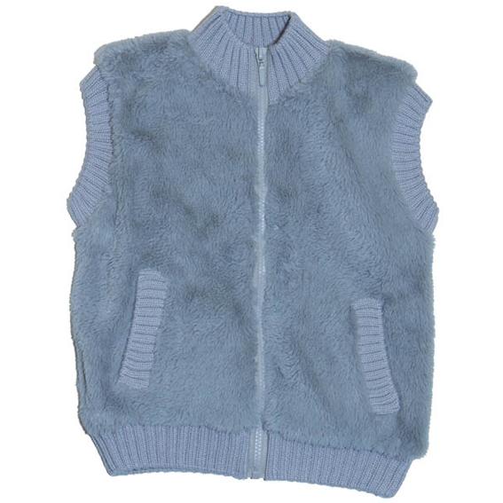 16) Жилет из искусственного меха на трикотажной хлопковой подкладке с вязанной отделкой и карманами, застежка на...
