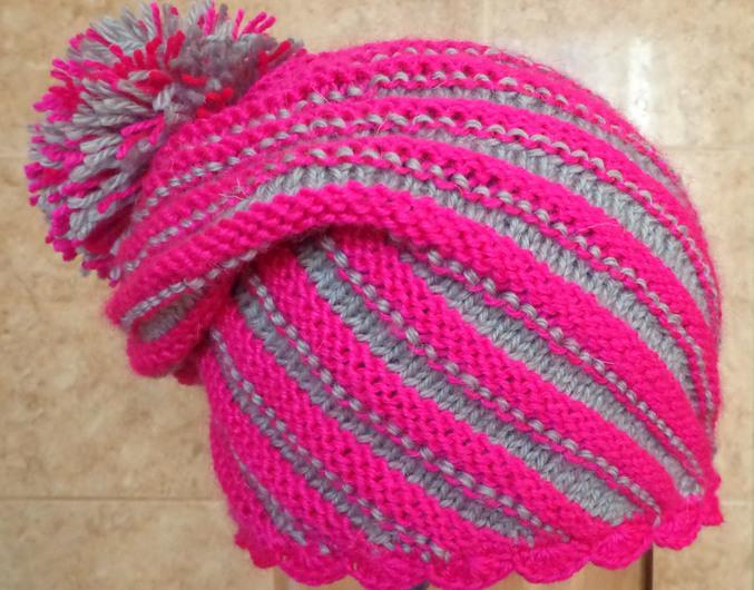 Вязание шапок спицами по диагонали 131